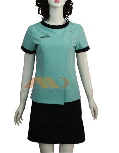 đồng phục spa màu xanh