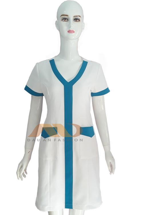 Đồng phục nhân viên đầm trắng phối xanh