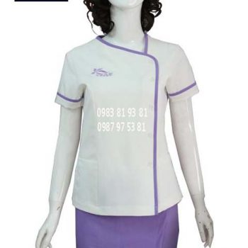 Đồng phục nhân viên spa trắng phối tím