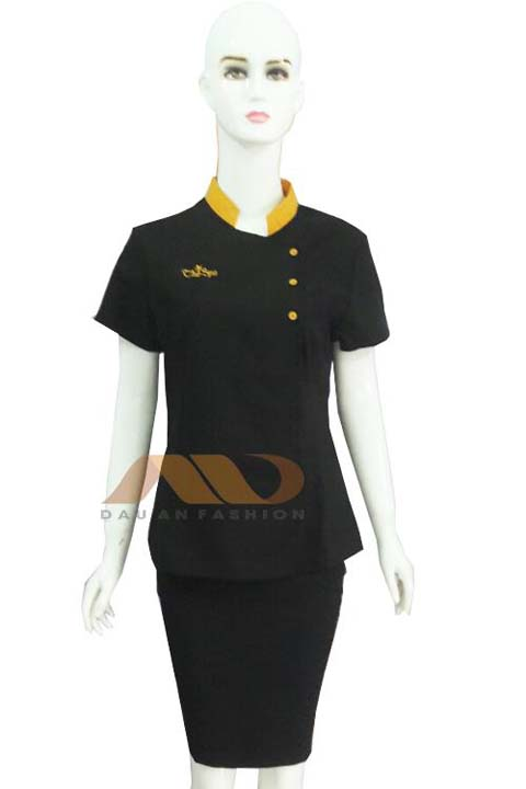 Đồng phục nhân viên spa đen phối vàng đồng