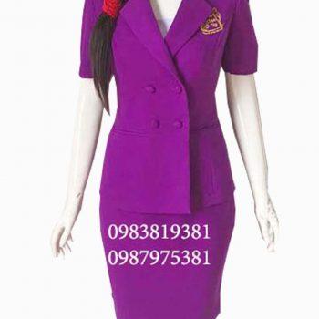 Đồng phục nhân viên lễ tân spa màu tím SPA013