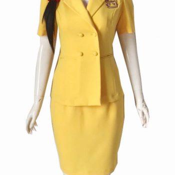 Đồng phục vest spa vàng 4 khuy SPA016