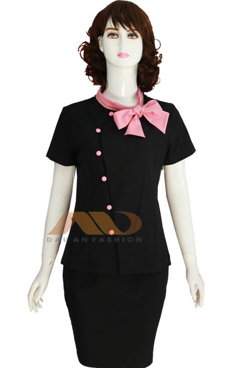 Đồng phục nhân viên đầm đen phối nơ hồng AS0063