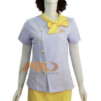 Đồng phục nhân viên trắng phối vàng AS0071