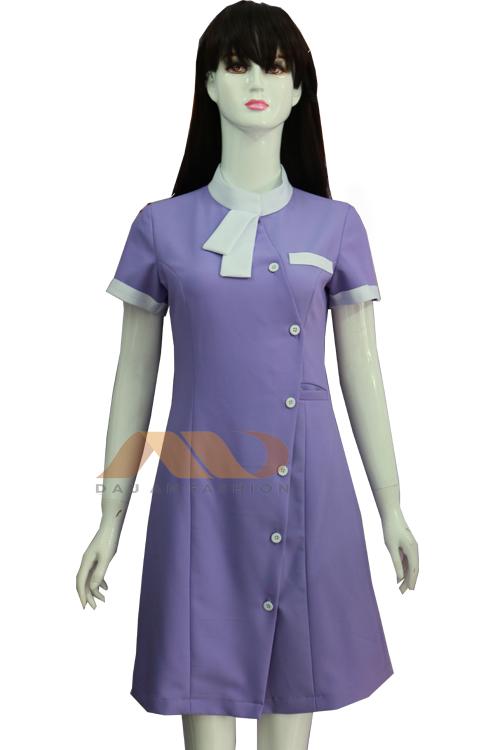 Đồng phục nhân viên đầm màu tím nơ trắng