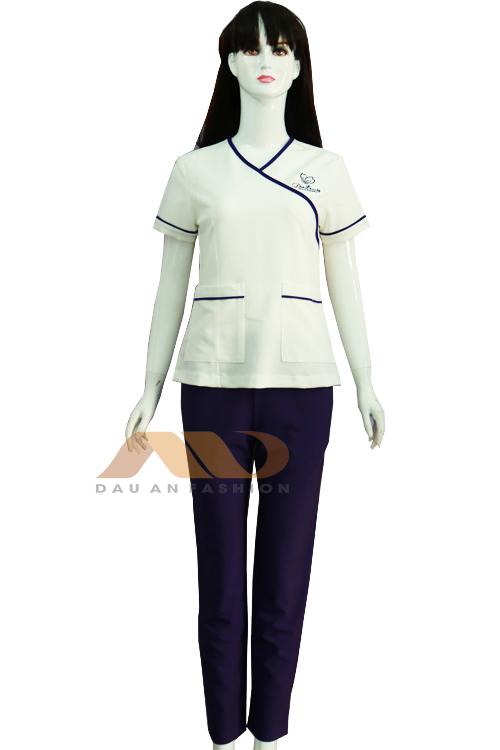 Đồng phục nhân viên trắng viền tím QS0029