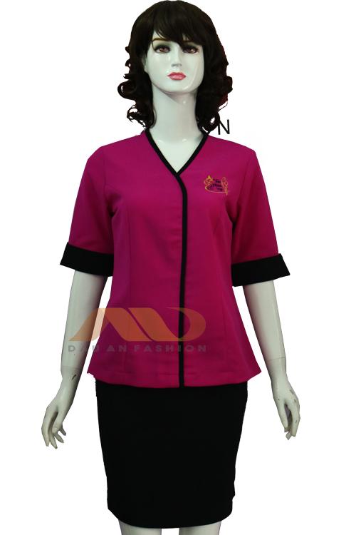 Đồng phục nhân viên đầm hồng phối đen