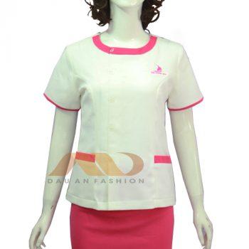 Đồng phục nhân viên đầm trắng phối hồng