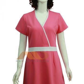 Đồng phục nhân viên đầm hồng viền trắng