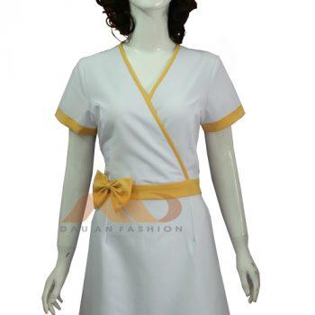 đồng phục nhân viên đầm trắng viền vàng