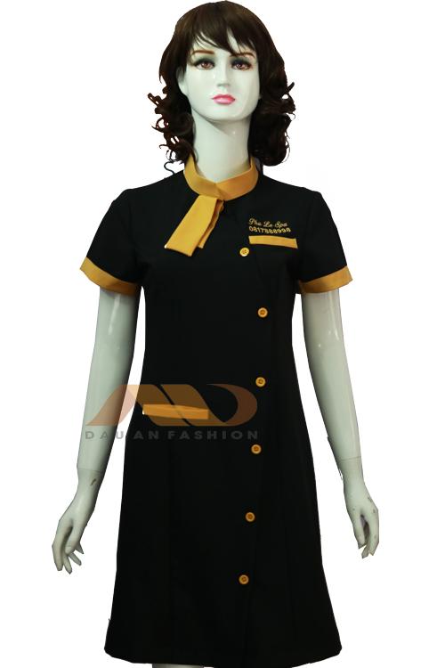 Đồng phục nhân viên áo váy thắt nơ xanh