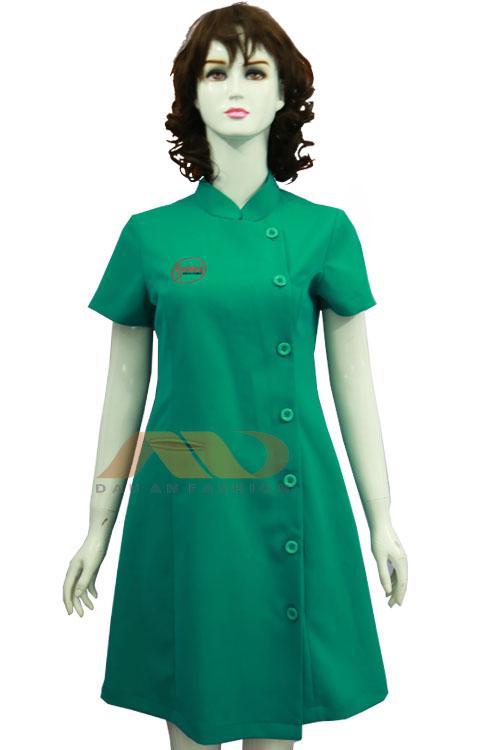 Đồng phục nhân viên đầm màu xanh cổ trụ