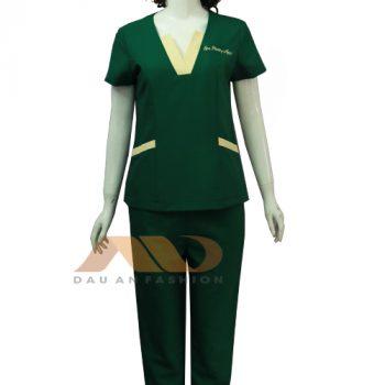 đồng phục nhân viên phòng mạch xanh lá