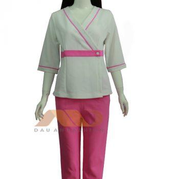 Đồng phục nhân viên trắng viền hồng QS0031