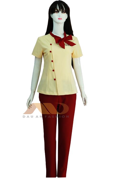 Đồng phục nhân viên vàng phối đỏ QS0033