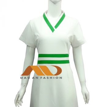Đồng phục spa trắng viền xanh AS0041