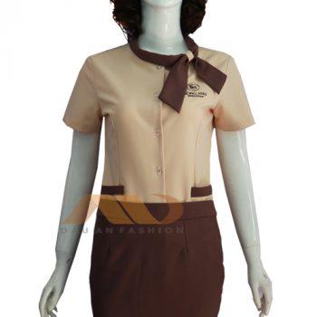 Đồng phục nhân viên đầm nâu thắt nơ AS0065