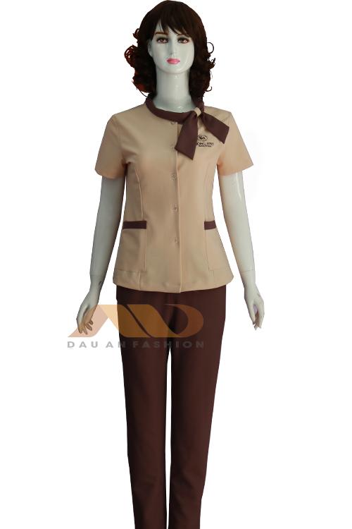 Đồng phục nhân viên thắt nơ nâu QS0037