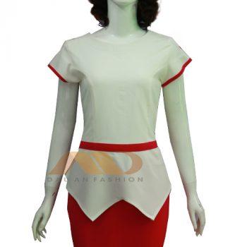 Đồng phục nhân viên trắng phối đỏ AS0047