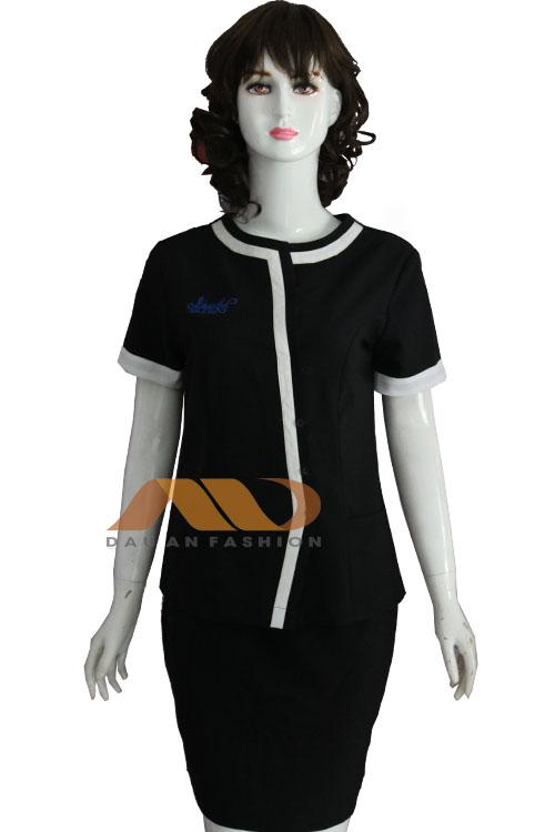 Đồng phục nhân viên đầm đen viền trắng
