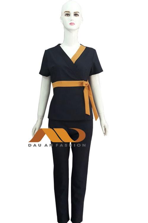 Đồng phục nhân viên đen viền cam