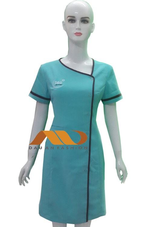 Đồng phục spa đầm xanh viền đen AS0019