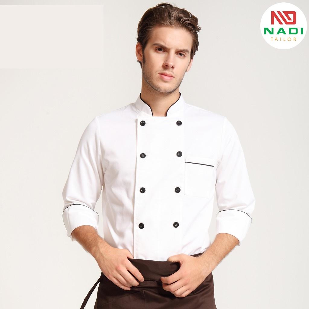 áo bếp nam màu trắng