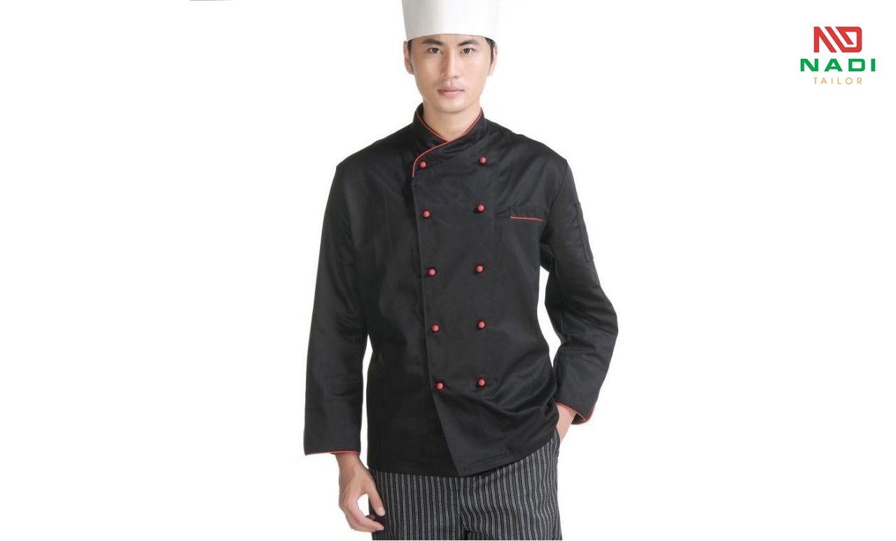 áo bếp nam đen viền đỏ