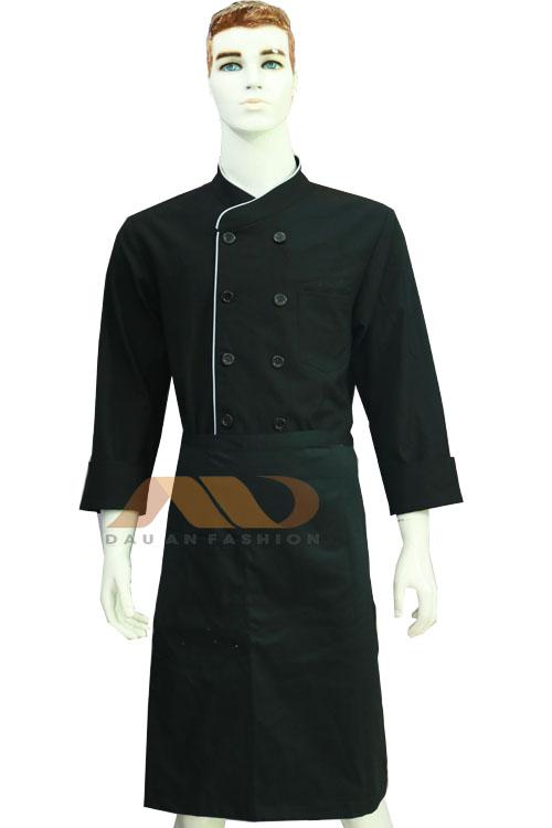 áo bếp tay dài vạt chéo hai khuy