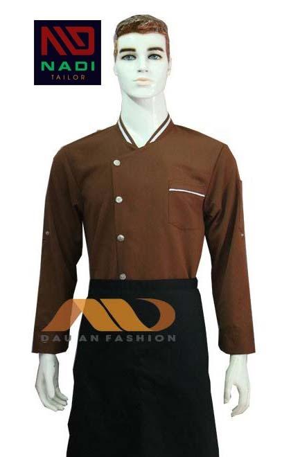 áo bếp tay dài vạt chéo một hàng khuy