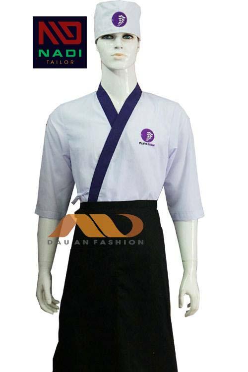 Áo bếp Nhật bản có thể thay đổi màu sắc chủ đạo và màu viền áo tùy theo yêu cầu của nhà hàng khách sạn