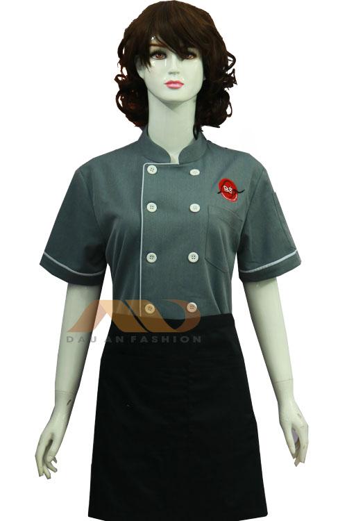 Đồng phục bếp màu xám viền trắng cho nữ