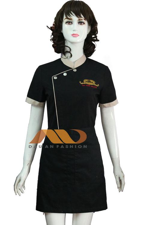 Đồng phục nhà hàng màu đen viền kem
