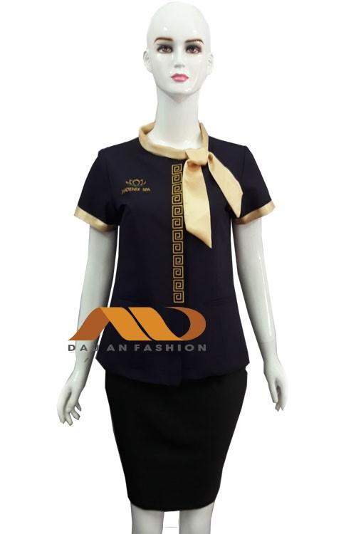 Đồng phục quản lý nữ đen thắt nơ vàng