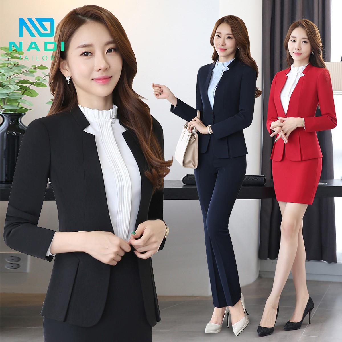Đằm thắm, quyến rũ qua mẫu đồng phục công sở đẹp màu đen, đỏ, mặc kèm chân váy hoặc quần dài